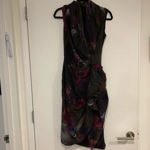All Saints purple print 100% silk wrap dress 6